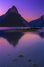 Preview iPhone wallpaper Mountains, lake, dusk, nature landscape