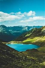 Preview iPhone wallpaper Mountains, lake, green, grass, summer
