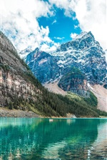 Preview iPhone wallpaper Mountains, lake, trees, snow peaks, clouds