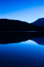 Preview iPhone wallpaper Mountains, lake, twilight, water reflection