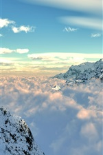 Preview iPhone wallpaper Mountains, snow, fog, clouds, sky, nature landscape