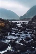 iPhone обои Горы, камни, река, сумерки