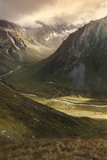 Preview iPhone wallpaper Mountains, valley, river, nature landscape