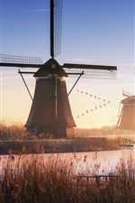 Preview iPhone wallpaper Netherlands, windmills, river