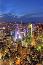 Preview iPhone wallpaper New York, USA, city night, buildings, lights, river, top view