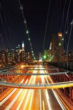 Preview iPhone wallpaper New York, city, bridge, lights, skyscrapers, USA