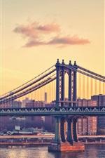 New York, city, bridge, skyscrapers, river, dusk