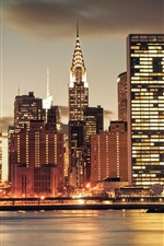 Preview iPhone wallpaper New York city night, skyscrapers, lights, river, USA
