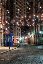 Preview iPhone wallpaper New York, old town, street, colorful lights, night, USA
