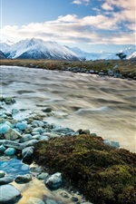 Preview iPhone wallpaper New Zealand, river, mountains, snow, winter