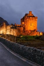 Ночь, замок, освещение, путь
