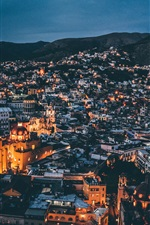 Preview iPhone wallpaper Night, city, houses, buildings, lights, mountains
