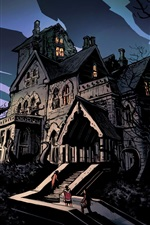 Preview iPhone wallpaper Night, gloomy, horror, house, trees, ladder, people, art drawing