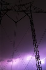 Preview iPhone wallpaper Night, power lines, thunderstorm, lightning