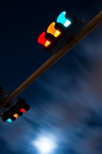 Preview iPhone wallpaper Night, traffic light, clouds, moon