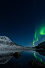 Preview iPhone wallpaper Northern lights, Norway, night, lake, stars, mountains