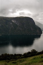 Norway, Aurlandsfjord, river, clouds, mountains