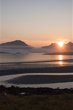 Preview iPhone wallpaper Norway, Yttersand Beach, fog, morning, mountains, sunrise