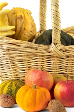 Preview iPhone wallpaper Nuts, pumpkin, apples, autumn, basket, still life, white background