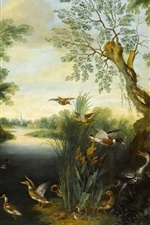 Preview iPhone wallpaper Oil painting, birds, trees, river, wild ducks