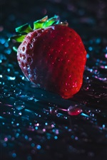 Preview iPhone wallpaper One strawberry, water drops, backlight
