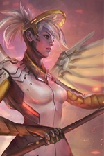 Preview iPhone wallpaper Overwatch, Blizzard, girl, art picture