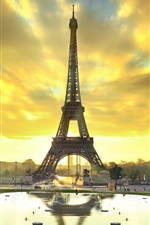 Preview iPhone wallpaper Paris, Eiffel tower, city, water, autumn, sunrise
