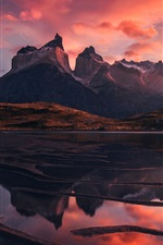 Preview iPhone wallpaper Patagonia, nature landscape, lake, mountains, red sky, clouds