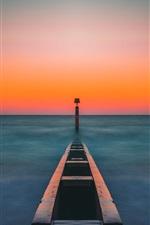 Pier, sea, sunset