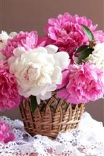 iPhone壁紙のプレビュー ピンクと白の牡丹、バスケット