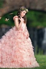 Pink dress girl, child, grass, butterfly