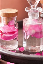 Preview iPhone wallpaper Pink rose petals, bottles, SPA theme
