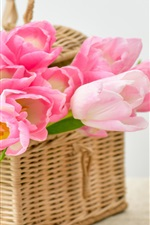 Preview iPhone wallpaper Pink tulips, basket