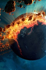 Preview iPhone wallpaper Planet destruction, meteor belt, space