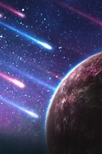 Preview iPhone wallpaper Planet, meteor shower, galaxy, starry