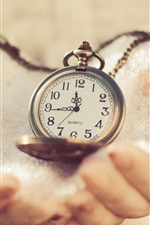Preview iPhone wallpaper Pocket watch, dial, hands, snow