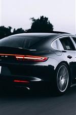 Preview iPhone wallpaper Porsche black car speed, rear view