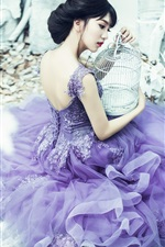 Preview iPhone wallpaper Purple skirt Asian girl, birdcage