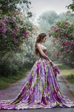 Preview iPhone wallpaper Purple skirt girl, side view, flowers