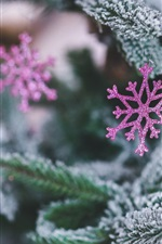 Preview iPhone wallpaper Purple snowflake decoration, spruce, Christmas theme