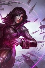 Preview iPhone wallpaper Purple style fantasy girl, stone swords, magic