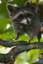Preview iPhone wallpaper Raccoon and child, tree, art drawing