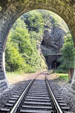 Preview iPhone wallpaper Railway, tunnel, stones