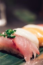 Raw fish piece, sushi, Japanese cuisine
