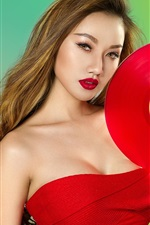 Preview iPhone wallpaper Red dress Asian girl, record