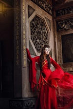 Preview iPhone wallpaper Red dress Chinese girl, model, retro style