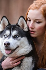 Preview iPhone wallpaper Red hair girl and husky