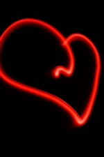 Preview iPhone wallpaper Red lines love heart, black background