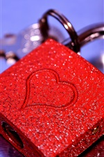 Preview iPhone wallpaper Red love heart lock, shine