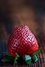 Preview iPhone wallpaper Red strawberry, fruit close-up, wood board